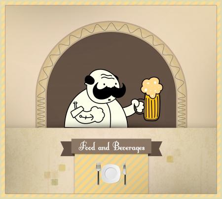 bartender: Barman de servir la bi�re. L'alimentation et l'S�rie Boissons. Illustration