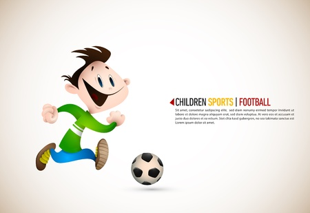 deportes caricatura: Little Boy jugando al fútbol.