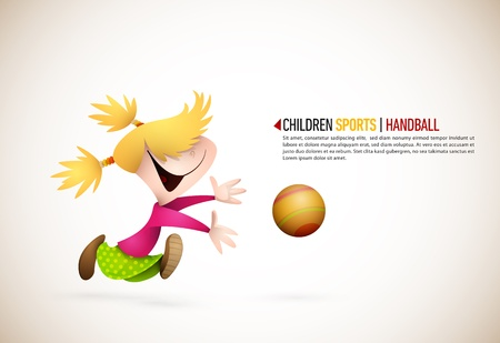 Little Girl Playing Handball. Vector