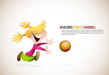 Little Girl Playing Handball. Vector