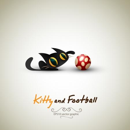 Kleine Katze spielt mit Fußball. Große Gruß für Tierhalter.