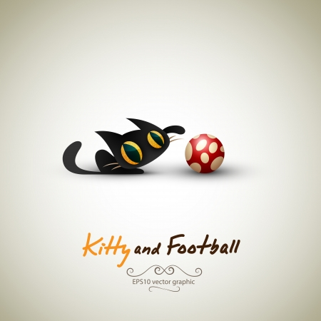 Little Cat playing with Football. Great Greeting for Pet Owners. Vector