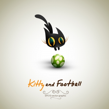 Little Cat playing with Football. Great Greeting for Pet Owners.