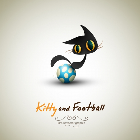 Little Cat playing with Football. Great Greeting for Pet Owners. Stock Vector - 14172058