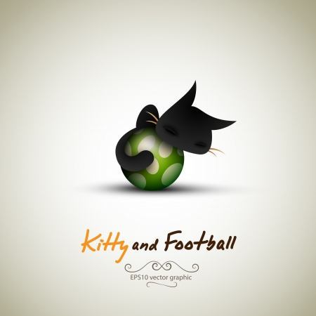 Little Cat Sleeping on Football. Great Greeting for Pet Owners. Vector