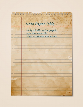Old Vintage Note Paper, Blank Sheet | Graphic | Layers Organised and Named Vector