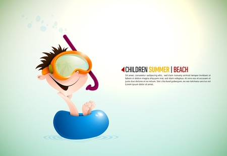 Cute Boy Enjoying Summer At The Beach | Layered Background Vector