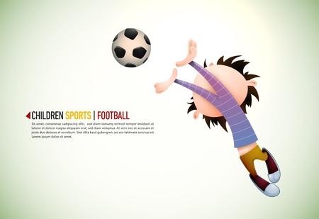 torwart: Child Soccer Player Torwart Fehler Gegen Fu�ball | Schichten organisiert und Named Dementsprechend Illustration