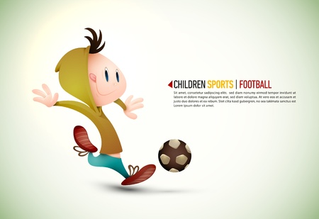 named: Child Soccer Player PLaying Football    Layers Organized and Named Accordingly Illustration