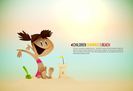 Little Girl Building Sand Castle on the Beachl | Sunny Seashore |  Layers Organized and Named Accordingly Vector