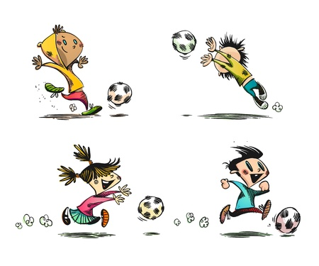 Children playing Football, Soccer and other Ball Games |  No Transparency | Layers Organized and Named Illustration