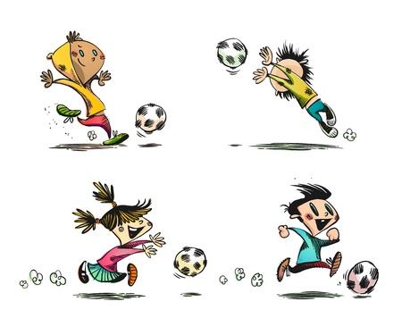 portero: Los niños que juegan fútbol americano, fútbol y otros juegos de pelota | No transparency | Capas organizado y con nombre