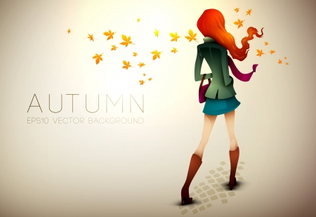 Autumn Background | Young Woman in wind | Layered Illustration Vector
