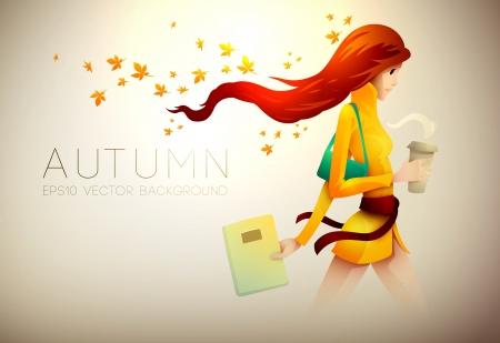 caf� � emporter: Autumn Background   Jeune Femme Avec Son Coffee To Go   Illustration Layered Illustration