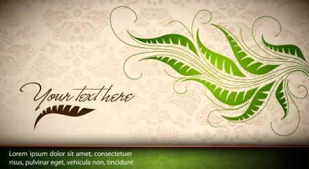 Elegant Floral Card - Seamless Damask Texture    Vector