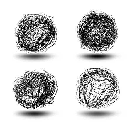Black vector scribble balls   EPS8 No Transparency Vector