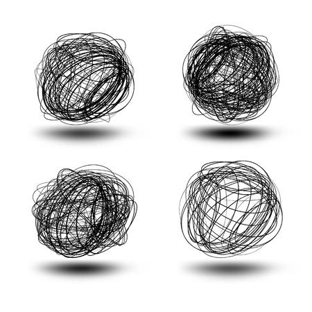 Black vector scribble balls   EPS8 No Transparency Illustration