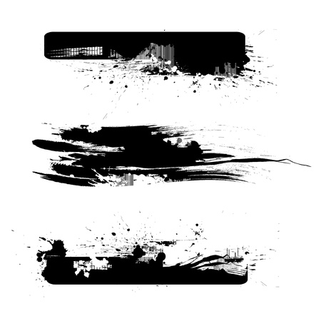 grunge brush: 3 Brushes of Detailed Grunge Lines  Borders   Illustration
