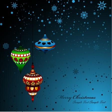 hang up: Retro Oriental Christmas Elements, Balls, Decorations Illustration