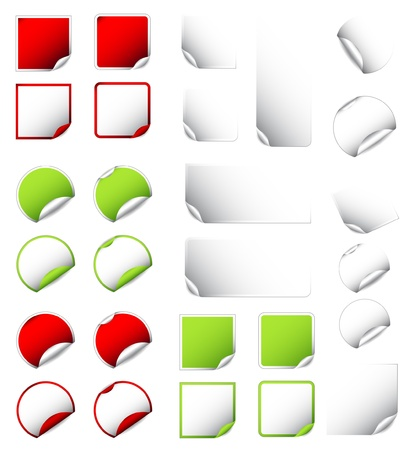 big set of colorful and white blank labels, stickers, tags Vector