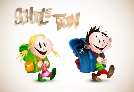 School s Fun Detailed Illustration of two young happy child going to school