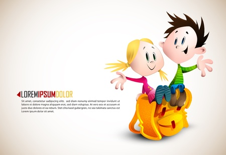 Cute Boy and Girl sitting on School Backpack Vector