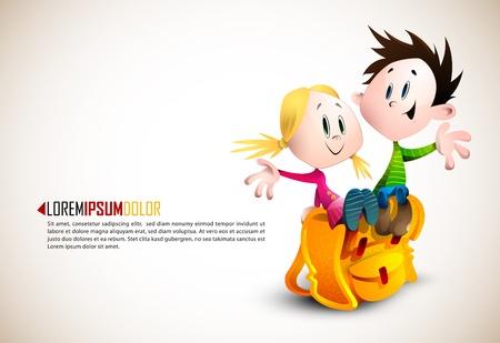 Dzieci: Cute Boy i Dziewczyna siedzi na plecak Ilustracja