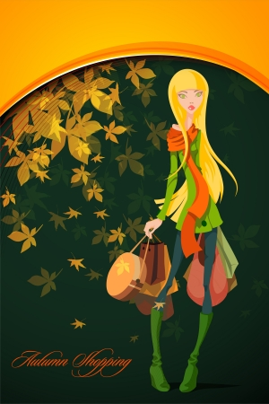 Autumn Shopping with Beautiful Woman Stock Vector - 15937727