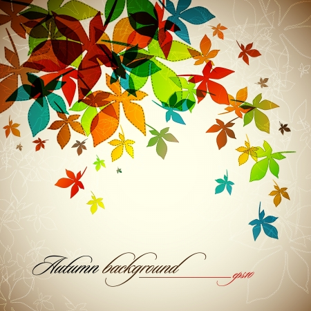 autumn leaves falling: Autumn Background   Falling Leaves Illustration