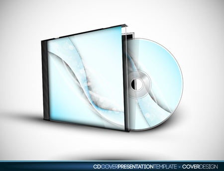 CD Cover Design with 3D Presentation Template   Layers Named Accordingly   To Change the Cover Design use the Cd and Cover Design Layers 向量圖像