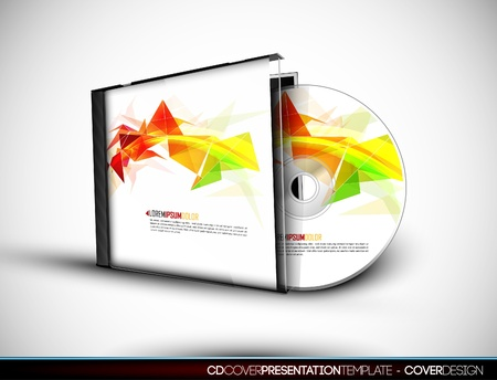 cd cover: CD Cover Design with 3D Presentation Template
