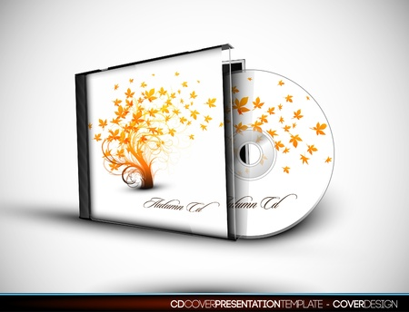 tree disc: CD Flourish Cover Design with 3D Presentation Template   Layers Illustration
