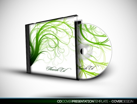 CD Flourish Cover Design with 3D Presentation Template   Layers Named Accordingly 向量圖像