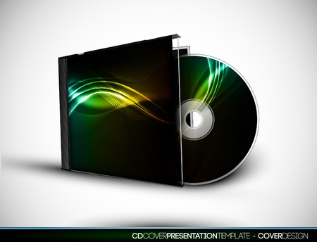 CD Cover Design with 3D Presentation Template   Layers are Named Accordingly 向量圖像