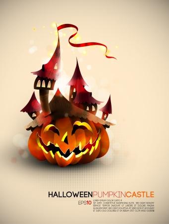 Halloween Castle Grown on a Pumpkin 向量圖像