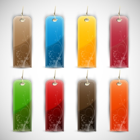 Set of Blank Tags  Labels of Different Colors 向量圖像
