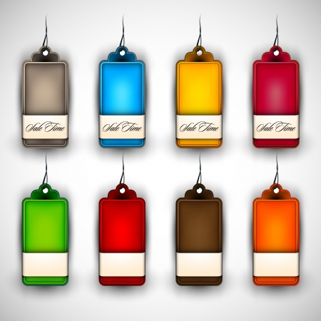 Set of Blank Tags  Labels of Different Colors Stock Vector - 15937750
