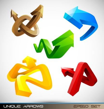 flechas curvas: Conjunto de brillantes Flechas 3D Vectores
