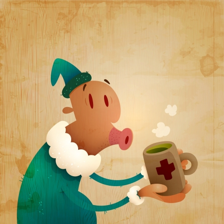 Man Caught A Cold And Drinks Hot Tea | Layered EPS10 Vector Illustration 向量圖像