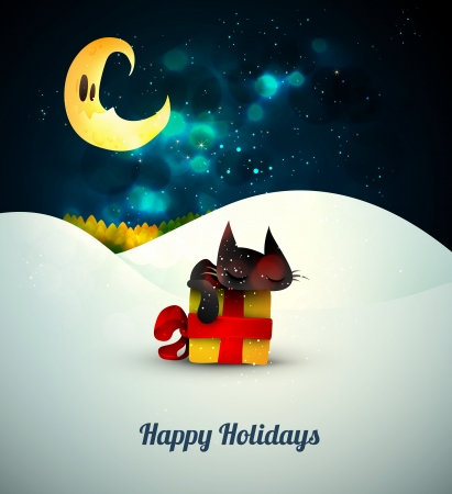 Kitten sleeping on gift box alone in the snow under moonlight    Vector