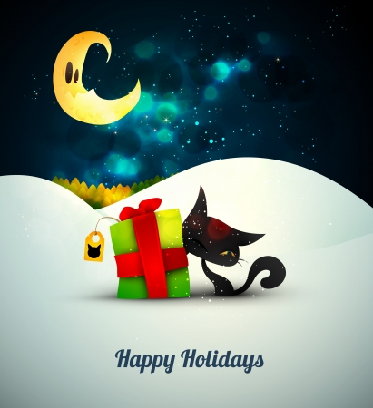 Kitten playing with gift box alone in the snow under moonlight    Vector