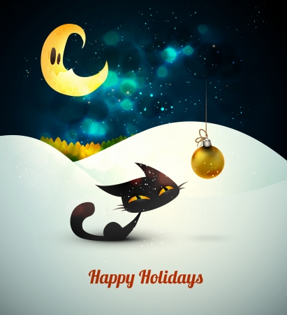 Cat with Christmas Globe alone in the snow under moonlight