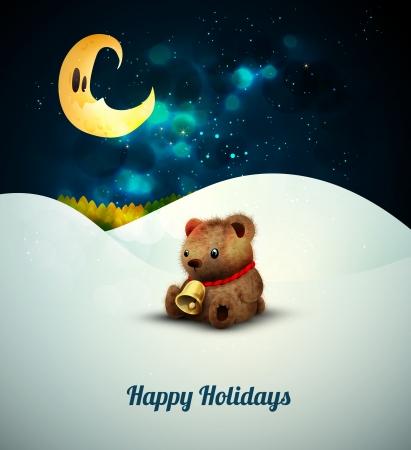 Teddy Bear alone in the snow under moonlight Vector