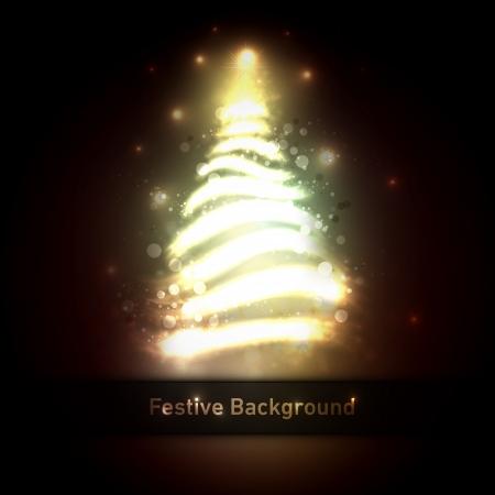 Dark Bronze Christmas Greeting With Tree Of Glittering Lights    向量圖像