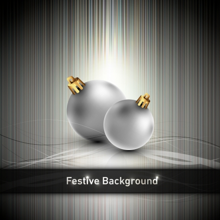 Christmas Banner with silver Globes    Vector