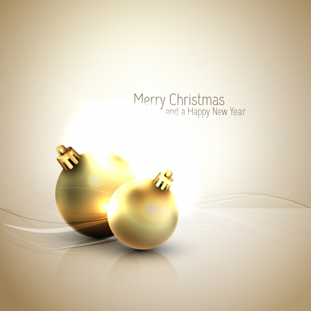 Golden hour Christmas Greeting with Shiny Globes
