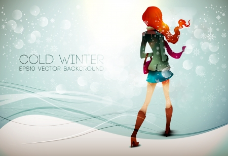 Stepping into the Winter  Illustration