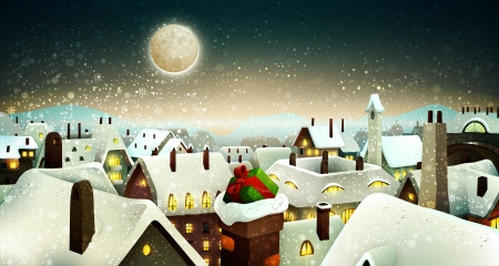 Peaceful Town Under Moonlight At Christmas Eve | Holiday Greeting Card, Banner  Vector