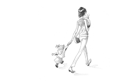 hurried: Hand-drawn Sketch, Pencil Illustration, Drawing of Woman Waking Hurried With Her Children  | High Resolution Scan