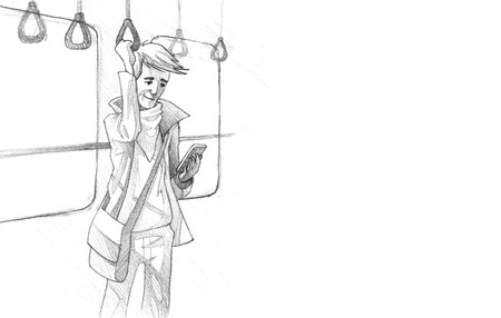 clamber: Hand-drawn Sketch, Pencil Illustration, Drawing of Young man traveling on metro texting on phone | High Resolution Scan, Decent Copy Space